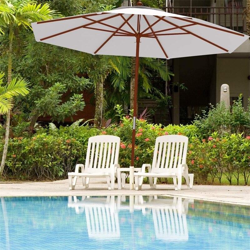 Réglable 10 Ft en bois parapluie extérieur Parasol jardin résistant aux intempéries Parasol couverture de pluie plage parapluie meubles OP3123
