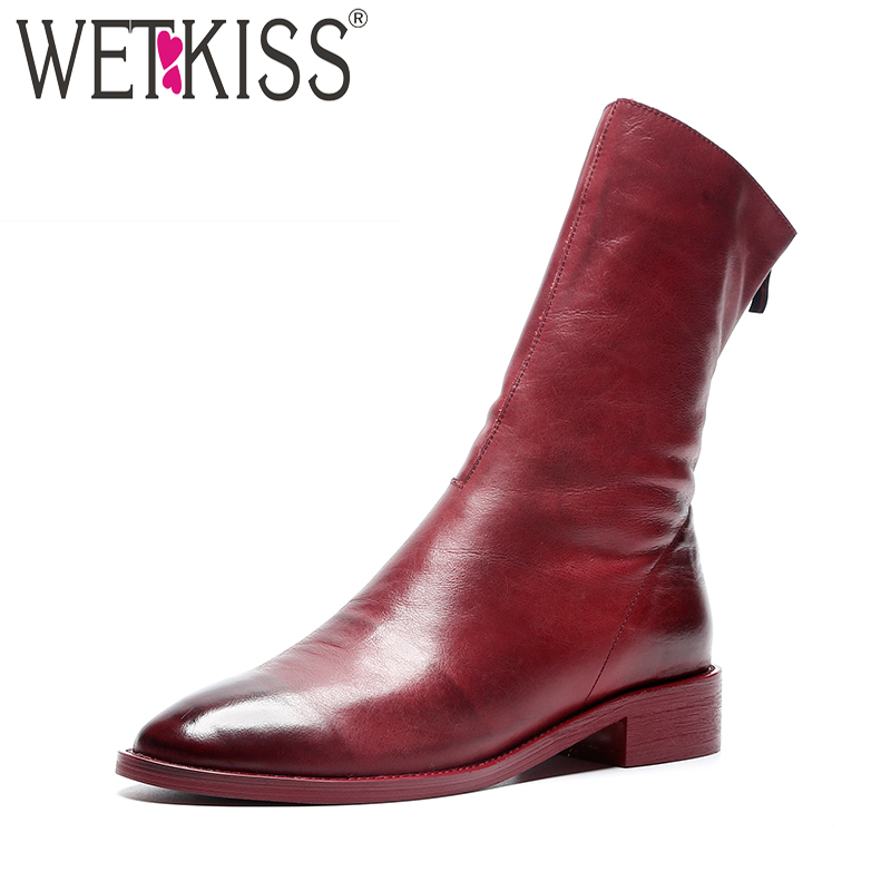 WETKISS Low Heels Women Red Boots Round Toe Footwear Gradient Leather Ankle Boot Female Autumn Winter Shoes Woman 2018 Zip Boots women ankle boots handmade genuine leather woman boots autumn winter round toe soft comfotable retro boot shoes female footwear