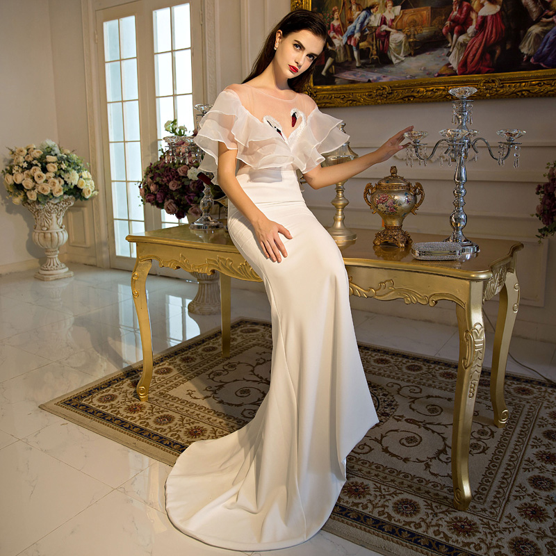 100%real white ruffled sexy see through swan embroidery major beading long dress mermaid dress gown royal dress Victoria dress