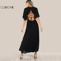 COLROVIE Open Back Boho Lace Up Maxi Dress Women Flutter Sleeve Sexy Black Slit Party Dresses