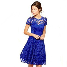 England Blue Lace Dress Print Polyester Oneck Embroidery wrinkle Pleated RED blue temptation Night Club sexy party Cute dresses