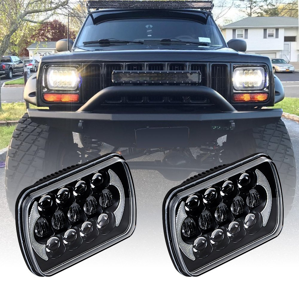 2PCS 85W 5'' X 7'' Rectangular LED Headlight Hi/Lo DRL Angel eyes for 1984-2001 Jeep Cherokee XJ 1986-1992 Jeep Comanche MJ pair 5   x 7   inch 85w 5d rectangular