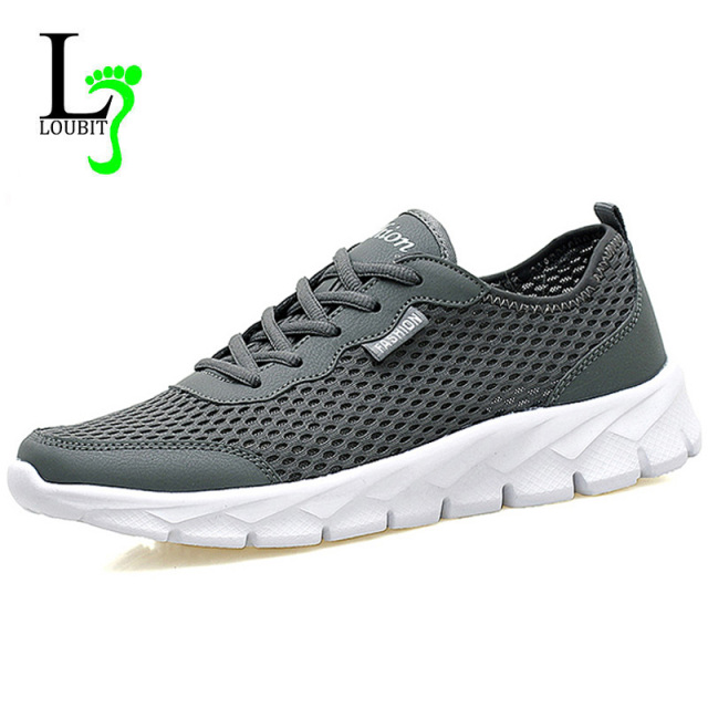 Breathable Men Shoes Lace Up Gray Black Flat Mesh Shoes