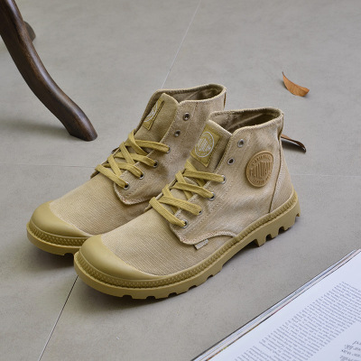 2017 Top Quality Canvas Men Boots Lace Up Male Canvas Shoe Ankle Botas Cowboy Motorcycle Boots Fashion Military Desert Palladium