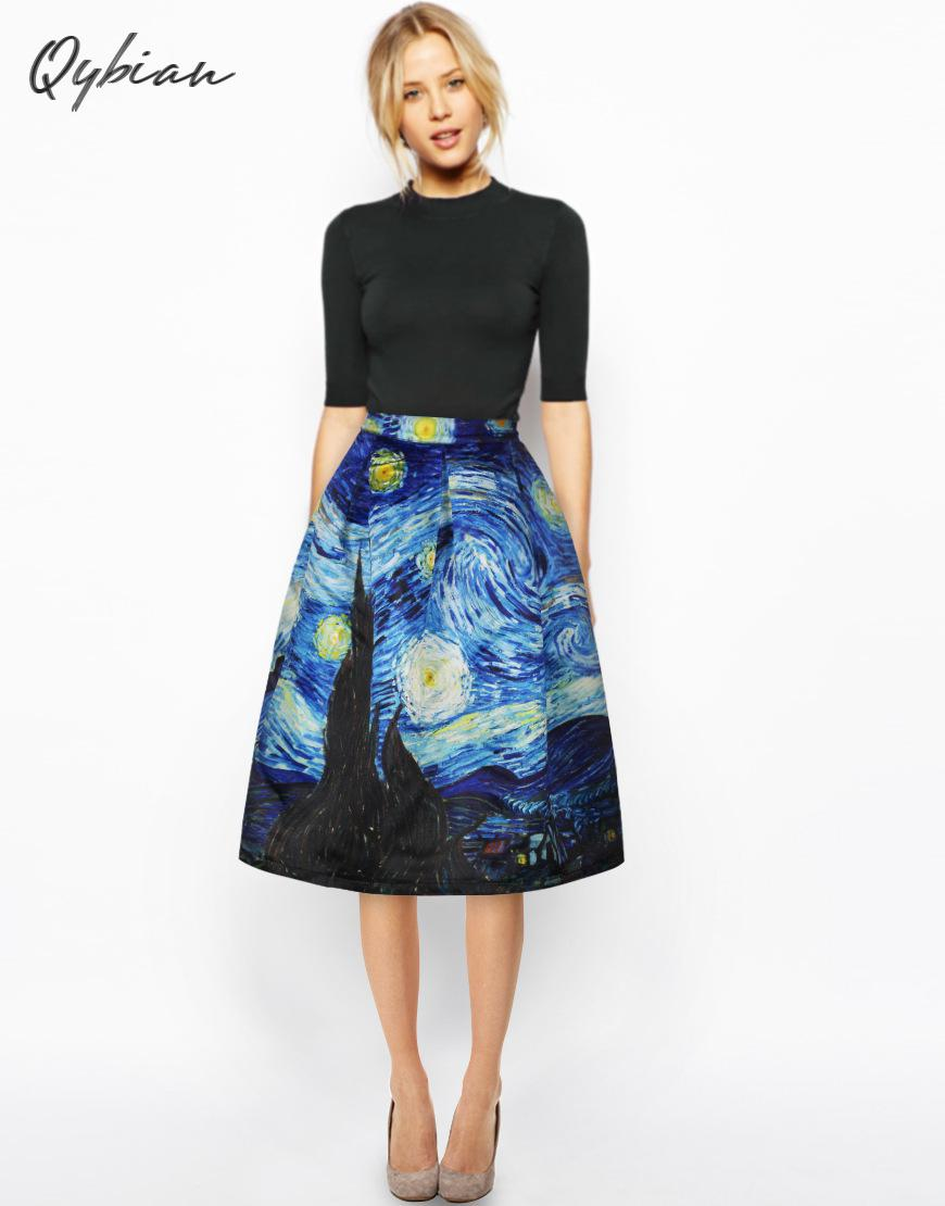 Qybian New Faldas Vintage 2020 Van Gogh Print Ladies Skirts High Waist Womens Skirts Christmas Skirt