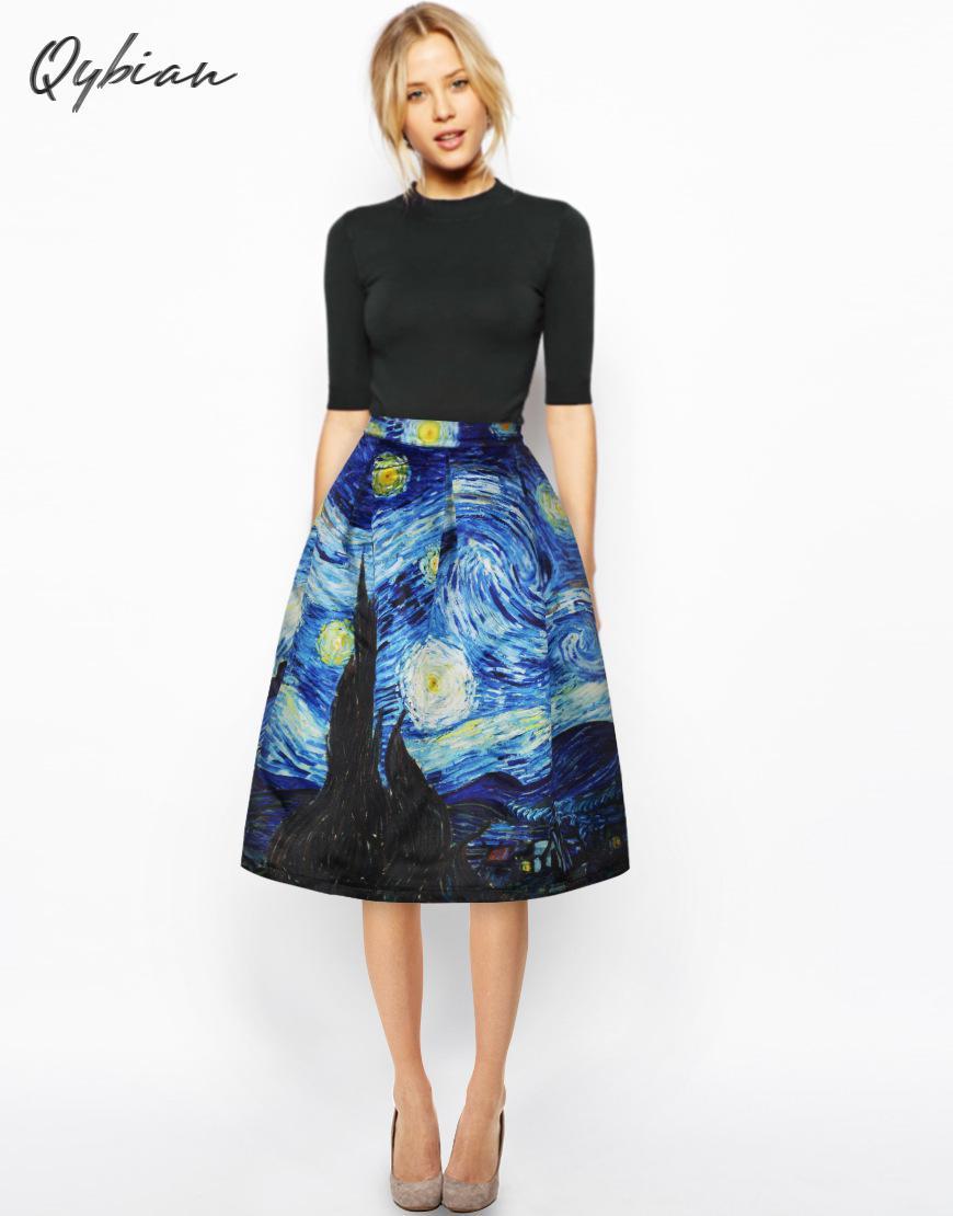 Qybian New Faldas Vintage 2020 Van Gogh Print Ladies Skirts High Waist Womens Skirts Christmas Skirt