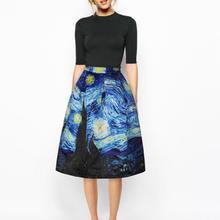Qybian new Faldas Vintage 2020 Van Gogh Print Ladies Skirts High waist Womens