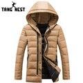Tangnest 2017 estilo largo invierno parka hombres gruesos calientes cómodos de los hombres chaqueta con capucha de la buena calidad casual chaqueta delgada hombres mwm1441
