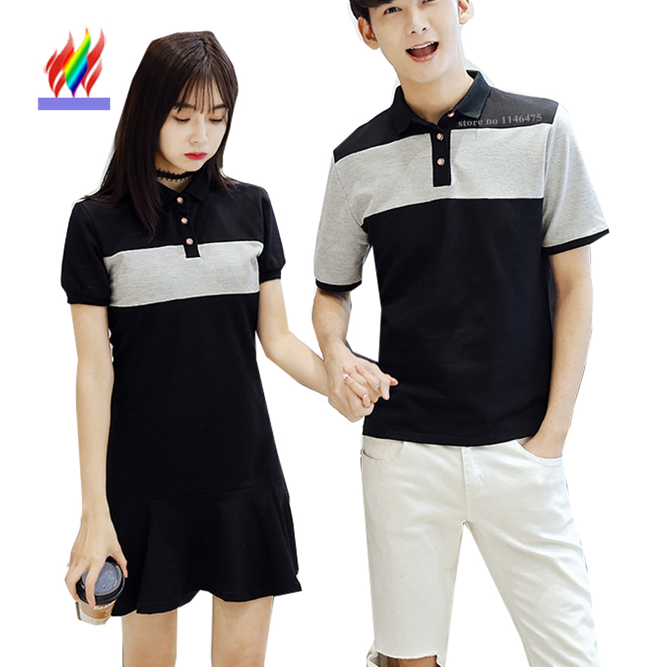 Lovers Clothes For Couple T-Shirts New 2017 Preppy Style Girls Cute Sweet Tops Cotton Slim Casual Matching Korean Couple T Shits tartan