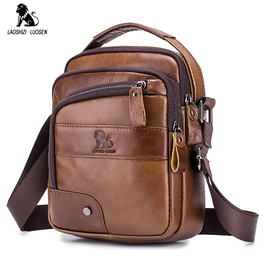 LAOSHIZI LUOSEN Men's Crossbody Bag Casual Genuine Cowhide Leather Shoulder Messenger Bags For Men Handbag Small Male Bolsas Sac