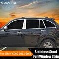 Car Styling Aço Inoxidável Janela Guarnição Completa Decoração Porta Lateral tiras Para Lifan X60 2011 2012 2013 2014 2015 Auto acessórios