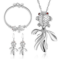 100 925 Silver Jewelry Sets Sterling Silver Jewelry Set For Women Goldfish Carassius Auratis Set Free