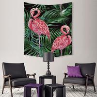שטיח ורוד פלמינגו צמח טרופי עלים ירוקים פרח תליית אמנות קיר ציור קיר בד ציור רקע לקישוט הבית