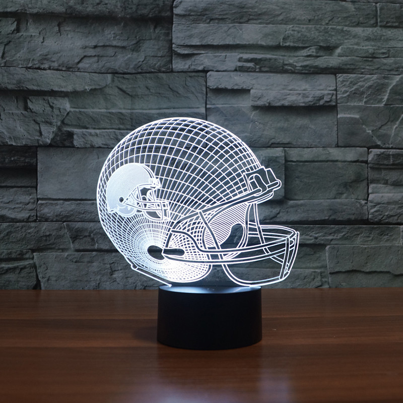 7 Colors Change Cap Night Light 3D LED Football Helmet Touch Table Lamp USB Rugby Hat Home Decor Gifts Sports Boy Sleep Lighting