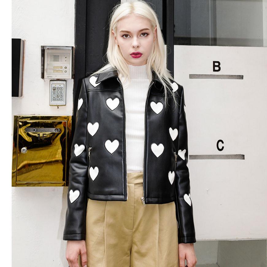 2018 fashion brand short style love circle stitching pu   leather   jackets female elegant balck long sleeve   leather   jacket wj2831