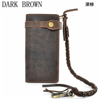 Cattle Vintage Crazy Horse Leather Handmade Male Long Design Wallet Fashion Male Genuine Leather Multi Layer