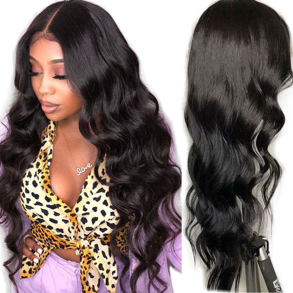 Alibele Human Hair Wigs 150 Density Pre plucked With baby Hair Peruvian Body Wave 13x4 Lace