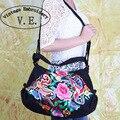 Новый национальный trend этническая вышивка мешок вышитые плеча сумки ручной работы холст женская большой сумочка