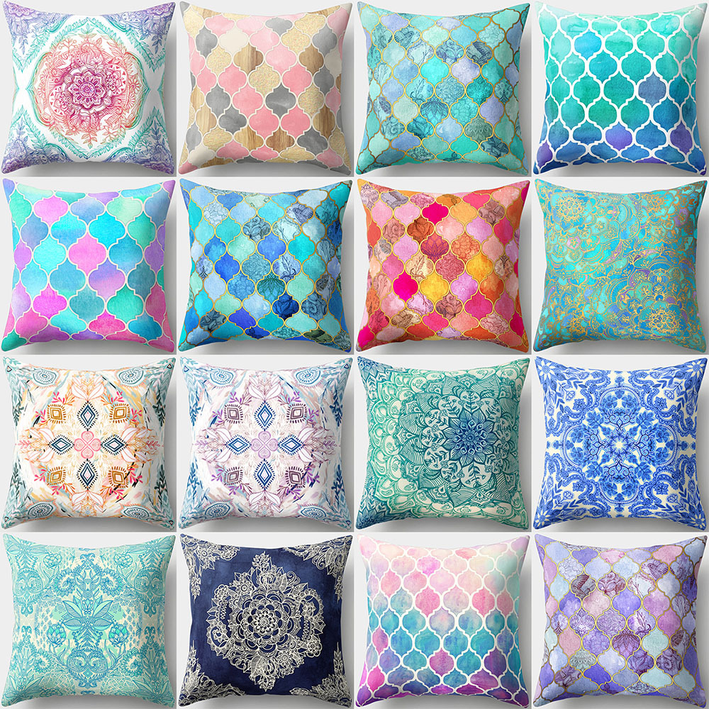 45x45cm Pillow Case Mosaic Series Nordic For Home Car Sofa Couch Throw Pillow Polyester Peach Skin Cushion Cover Home Decor