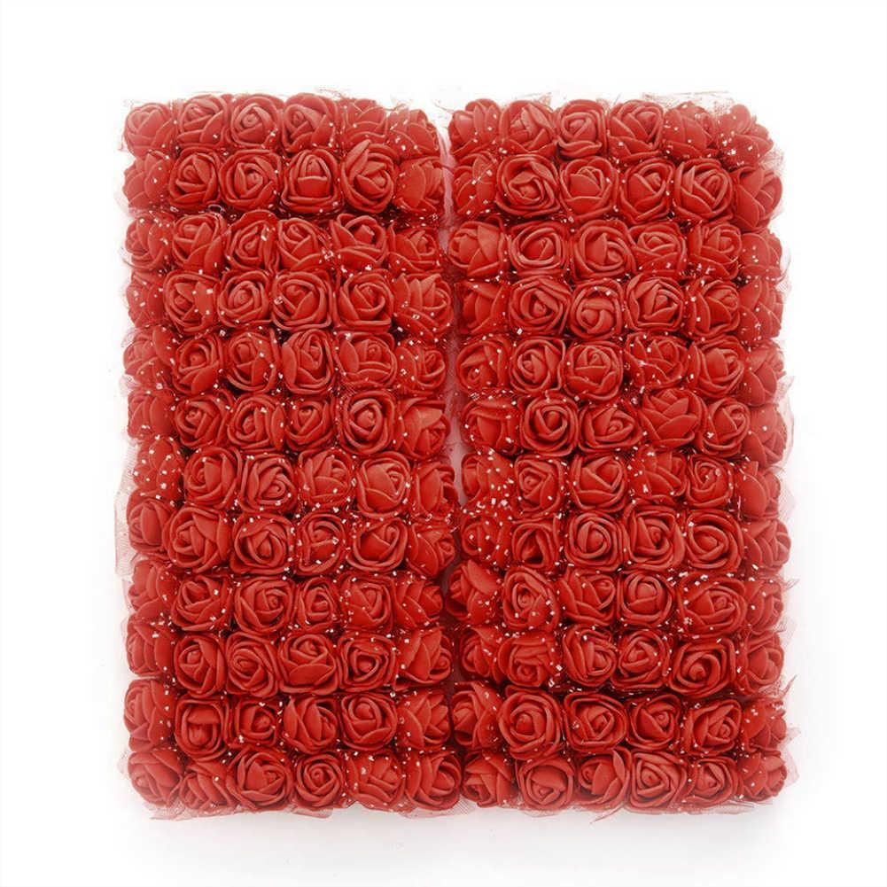 144 قطعة 2 سنتيمتر رغوة صغيرة زهرة اصطناعية باقة متعدد الألوان ارتفع المنزل سيارة الزفاف ورود للزينة وهمية زهرة الورد TSLM2