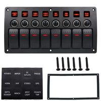 Boat Car Marine Rocker Switch Panel 8 Gang 3PIN & Circuit Breaker Overload Protection Waterproof LED Switch Panel DC12/24V ON