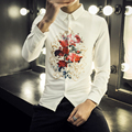 Amazon Quality Drop Shipping 2016 Autumn Brand Men British Stylish Shirts Slim Fit Long Sleeve Cotton Casual Men Dress Shirt