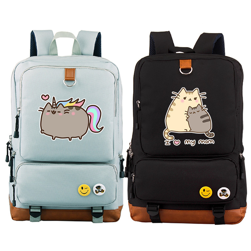 New Arrival Pusheen Cat Printing Backpack Kawaii Women Backpack Canvas School Bags Lovely Pusheen Bags Mochila Feminina fashion new women students lovely canvas backpack college small cartoon print sathel multifunction travel bags mochila feminina