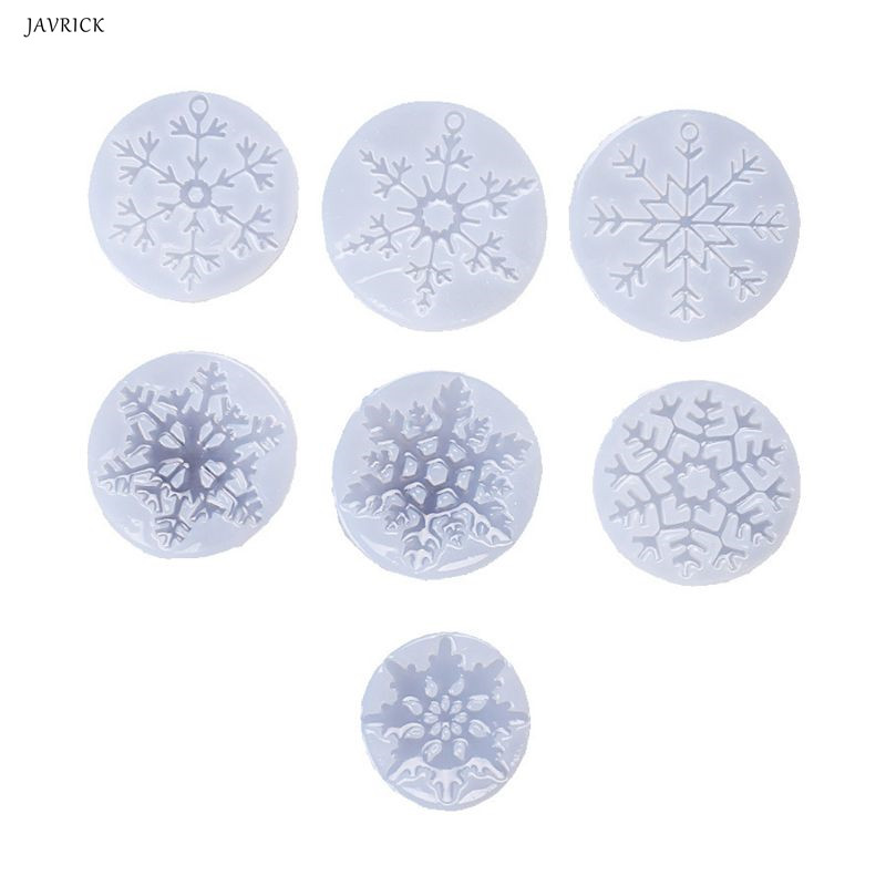 7Pcs Epoxy Resin Mold Christmas Snowflake Pendant Molds Kit Resin Casting Jewelry Making Tools