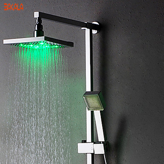 Freeshipping BAKALA Single Handle Contemporary Color Changing LED Shower  Faucet With 8 Inch Shower Head +