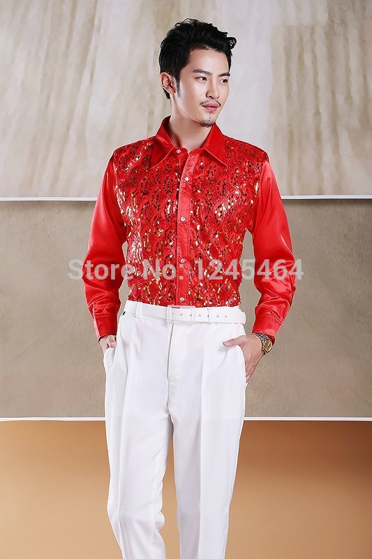 6fee63ae plus size M 2XL 2015 new fashion Men show Sequins shirt men's stage costume  party dance colorful shirt long sleeve chemise homme-in Casual Shirts from  Men's ...