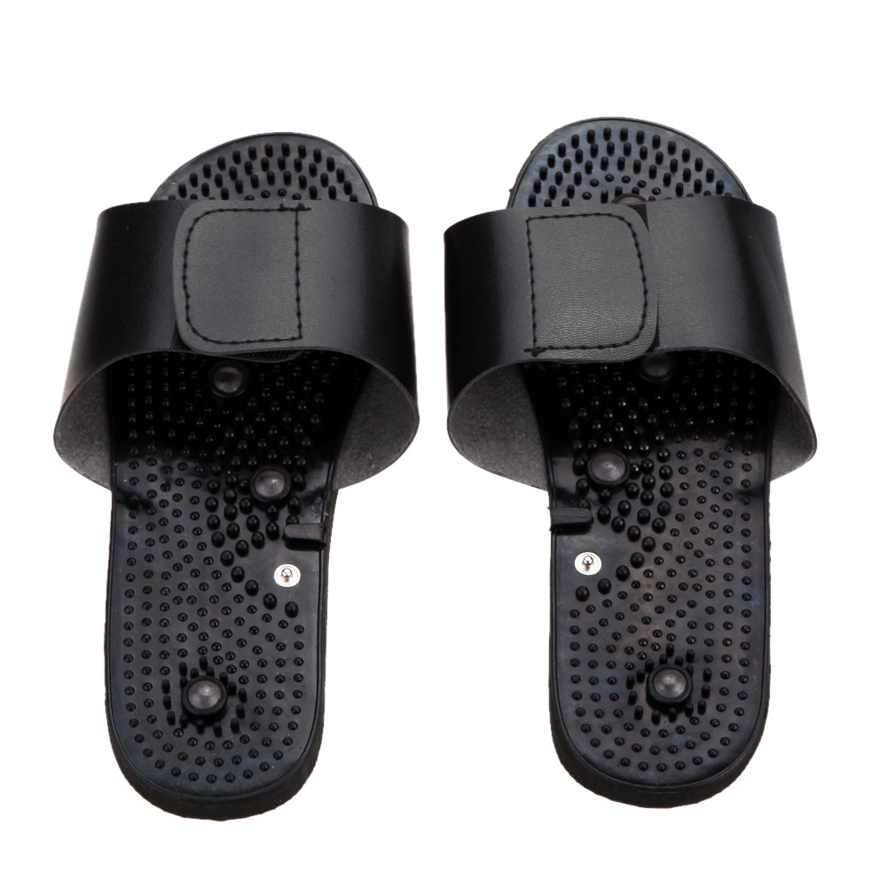 2pcs=1pair Black Rubber Electrode Slippers for Tens Acupuncture Therapy Massager Machine JR309 Physiotherapy Body Foot Massage black rubber accordion shield 65cm for lathe machine