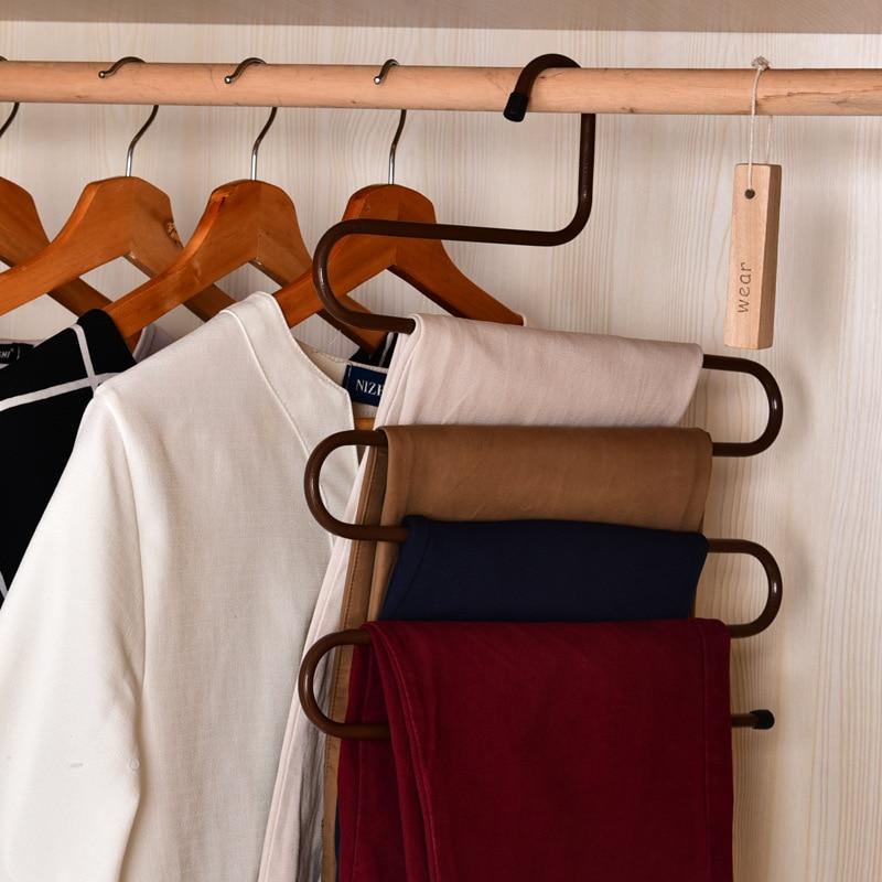 Pants Hanger Rack 5 Layer S Shape Trousers Holders Towels Clothes Apparel  Hangers Space Saving Wardrobe Hanger 36*34*0.9cm  In Storage Holders U0026  Racks From ...
