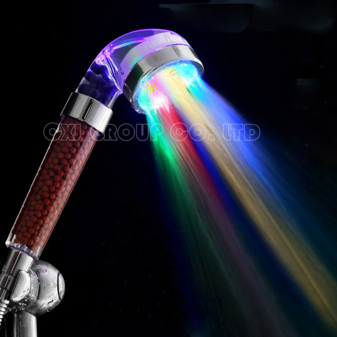 Free Shipping 7 Colors Change Led shower Tourmaline SPA Anion Hand Held Bathroom Led Shower Head Filter Hand Shower Saving Water