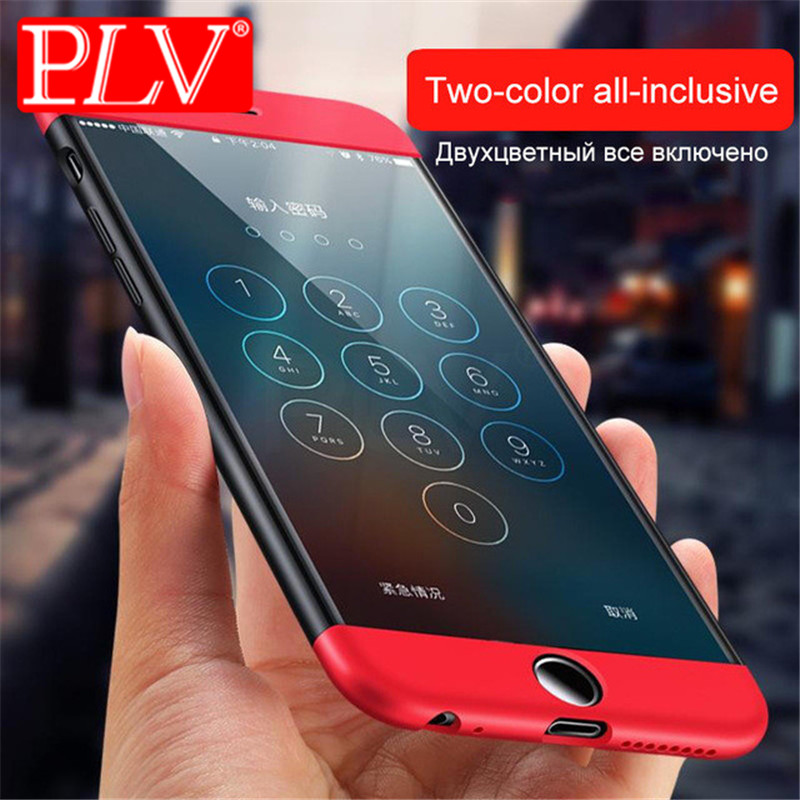 PLV 360 Degree Protection Case For iphone 6 6s plus 7 8 X Cover Luxury Plastic Hard Shockproof Back Case For iphone 5 5S 7 Plus
