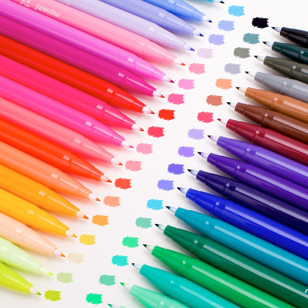 Rotulador de arte Set de pluma de Acuarela-medio y punta fina basado en agua para colorear marcadores ricos y vibrantes colores perfecto para adultos Color