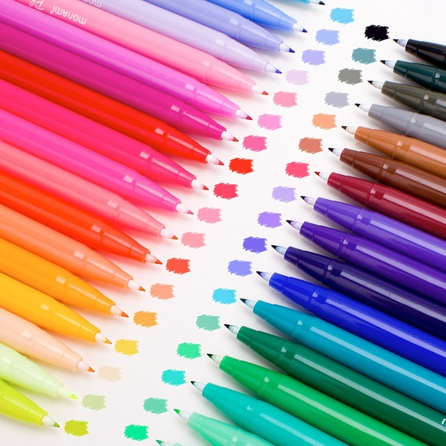 Art Marker Pen Watercolor Pen Set Medium & Fine Tip,Water Based Coloring Markers,Rich and Vibrant Colors Perfect for Adult Color