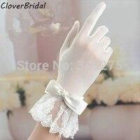 2014 Wrist Length Finger Bow Tie Belt Short Ivory Lace Wedding Gloves Bridal Glove For Bride