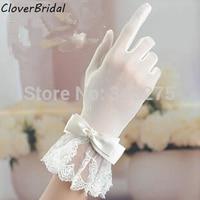 2014 wrist length finger bow-tie belt short ivory lace wedding gloves bridal glove for bride wedding accessories