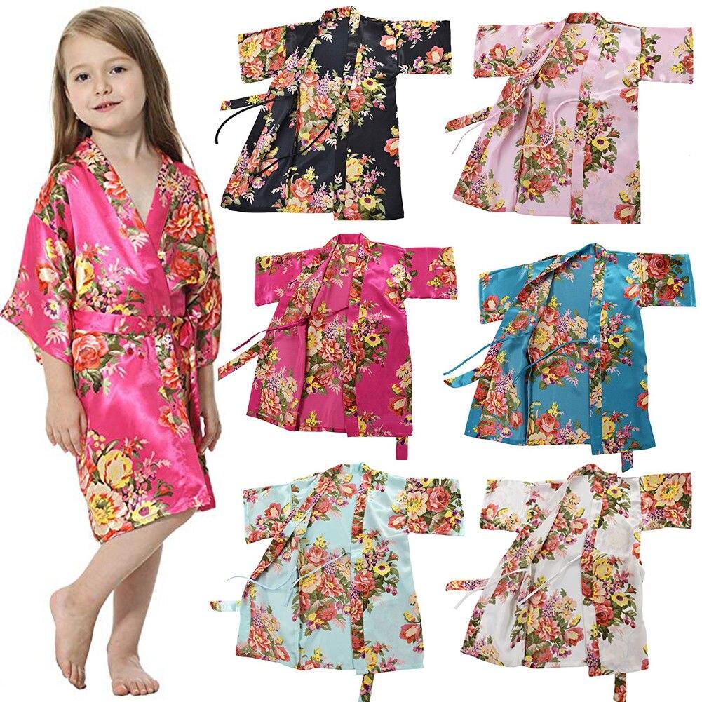 New Fashion Kids Girl Night Gown Summer Girl Satin Silk Pajamas Cute Girl Casual Flower Nightwear Bathrobe