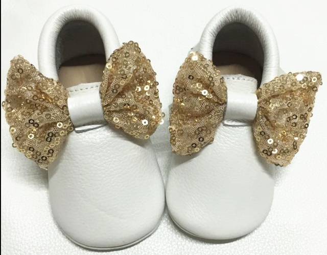 high quality new sequin Bow Genuine leather sofe sole bling bling first walkers baby moccasins Newborn Girl Baby infant shoes