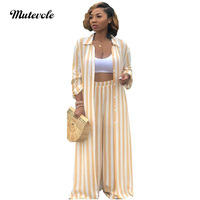 Mutevole 2 Piece Stripe Set Women Long Sleeve Top and Pants Two Piece Outfits Set Button Cardigan Wide Leg Trousers Casual Set