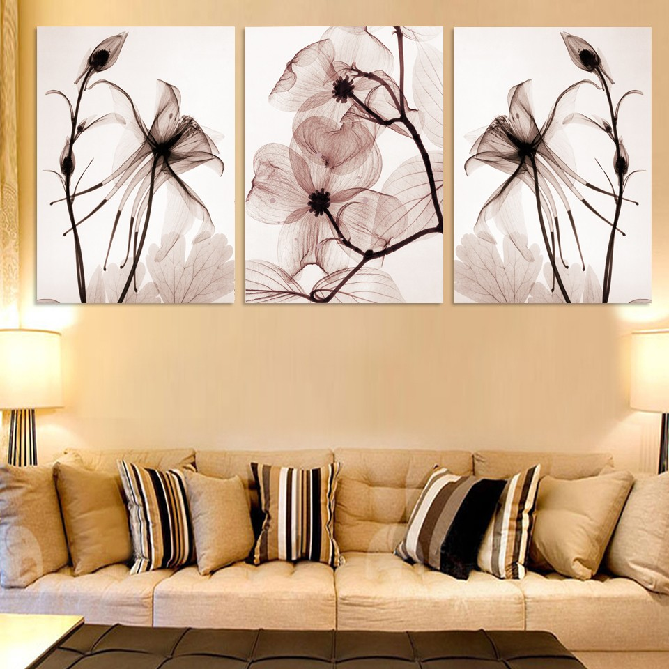 Aliexpress.com : Buy 3 Panel Beautiful Flower Floral Modern Wall Art ...