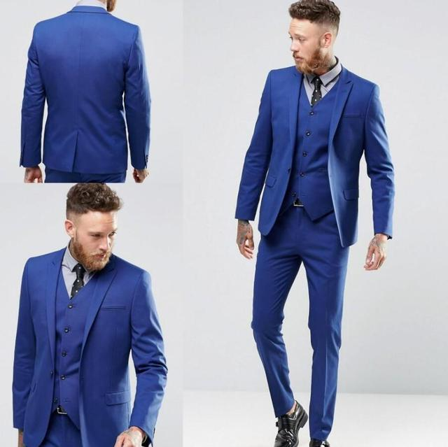Vestito blu da uomo su misura sposo best man vestito da cerimonia nuziale  di alta qualità
