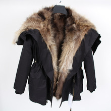 Maomaokong Winter women's luxurious rabbit fur coat large raccoon fur hooded parka