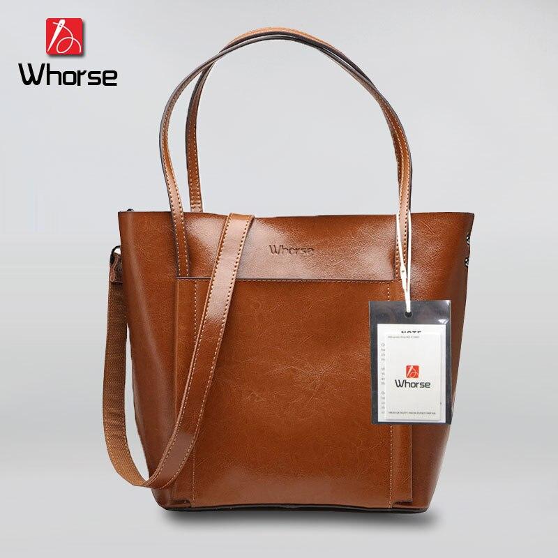 ФОТО [WHORSE] Brand Logo High Quality Genuine Leather Women Casual Tote Bag Bucket Shoulder Bags Big Handbag Large Capacity WA50803