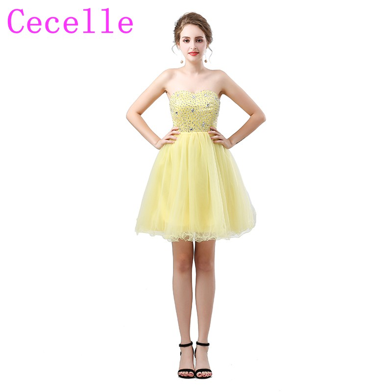 Yellow Short   Cocktail     Dresses   For Juniors Informal Prom Party Sweetheart Sparkly Beaded Top Tulle Skirt Party Gowns Real Images