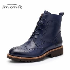 Image 3 - Yinzo ankle boots feminino genuíno couro de vaca dedo do pé redondo rendas up moda senhora botas de salto baixo sapatos de inverno feitos à mão sapatos 2020