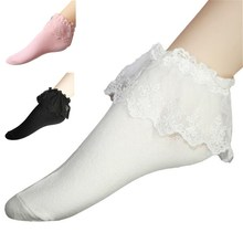 1 PCS 2015 Fashion Women Vintage Lace Ruffle Frilly Ankle Socks Lady Princess Girl Favorite 6 Color Free Shipping