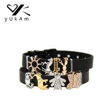 YUKAM ползунки ювелирные изделия кристалл семья солнце кактус Краб слон лошадь насекомое бабочка горка Шарм хранитель для изготовления сетчатого браслета