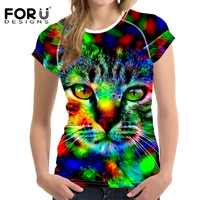 FORUDESIGNS Stylish Women Neon Owl Cat Pinted T shirt Cool Cat Design Tops Novelty Lady Short Sleeve Tees Unique Animal Tshirt